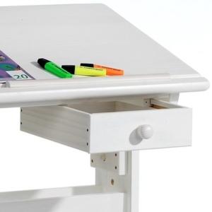 Kinderschreibtisch Schülerschreibtisch FLEXI, höhen- und neigungsverstellbar, aus Kiefer massiv weiß lackiert - 5