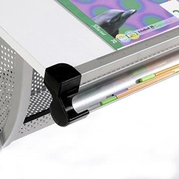 Kinderschreibtisch Schülerschreibtisch Schreibtisch Tisch MADS höhen- und neigungsverstellbar, weiß, stabiles Metallgestell - 3