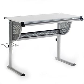 Kinderschreibtisch Schülerschreibtisch Schreibtisch Tisch MADS höhen- und neigungsverstellbar, weiß, stabiles Metallgestell - 4
