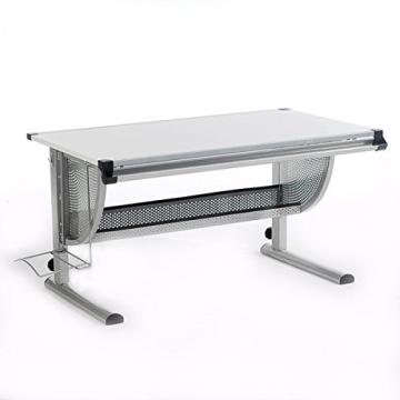 Kinderschreibtisch Schülerschreibtisch Schreibtisch Tisch MADS höhen- und neigungsverstellbar, weiß, stabiles Metallgestell - 5