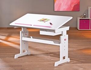Links 40100500 Kinder-Schreibtisch Baru, MDF/Massivholz, hoehen- und neigungsverstellbar, 1 Schublade, 109 x 55 x 63/88 cm, weiß / rosa-blau - 2
