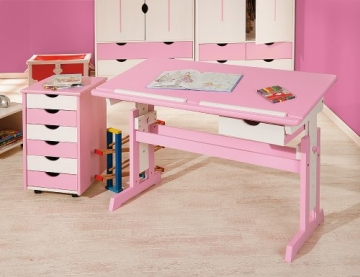 Links 99800350 Kinderschreibtisch Schülerschreibtisch Schreibtisch Kinderzimmer Tisch, rosa - 2