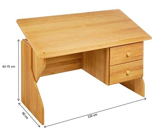 biokinder 22611 emil schreibtisch verstellbar mit 2 schubk sten aus massivholz erle 3. Black Bedroom Furniture Sets. Home Design Ideas