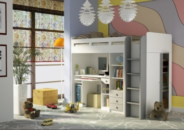 Kombination aus Bett Schrank und Schreibtisch 27XD1T03 Combi Kinderzimmer weiß - 1