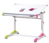 Links 50900440 Kinderschreibtisch Schülerschreibtisch Schreibtisch Kind Schüler, weiß / rosa / grün - 1