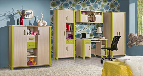 schreibtisch computertisch kinderzimmer eiche milchig gr n 4 kinderschreibtisch. Black Bedroom Furniture Sets. Home Design Ideas