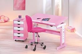 Schreibtisch mit Bürostuhl weiss/ rosa lackiert - 1