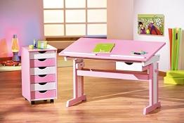 Schreibtisch mit Rollcontainer teilmassiv weiss/ rosa lackiert - 1