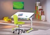 Schreibtisch mit Stuhl und Regal weiss/ pink - 1
